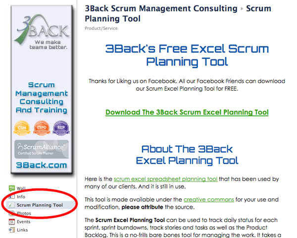 download 3Back's Scrum Excel Planning Tool